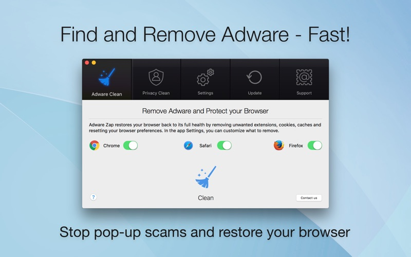 Screenshot #1 for Adware Zap Browser Cleaner