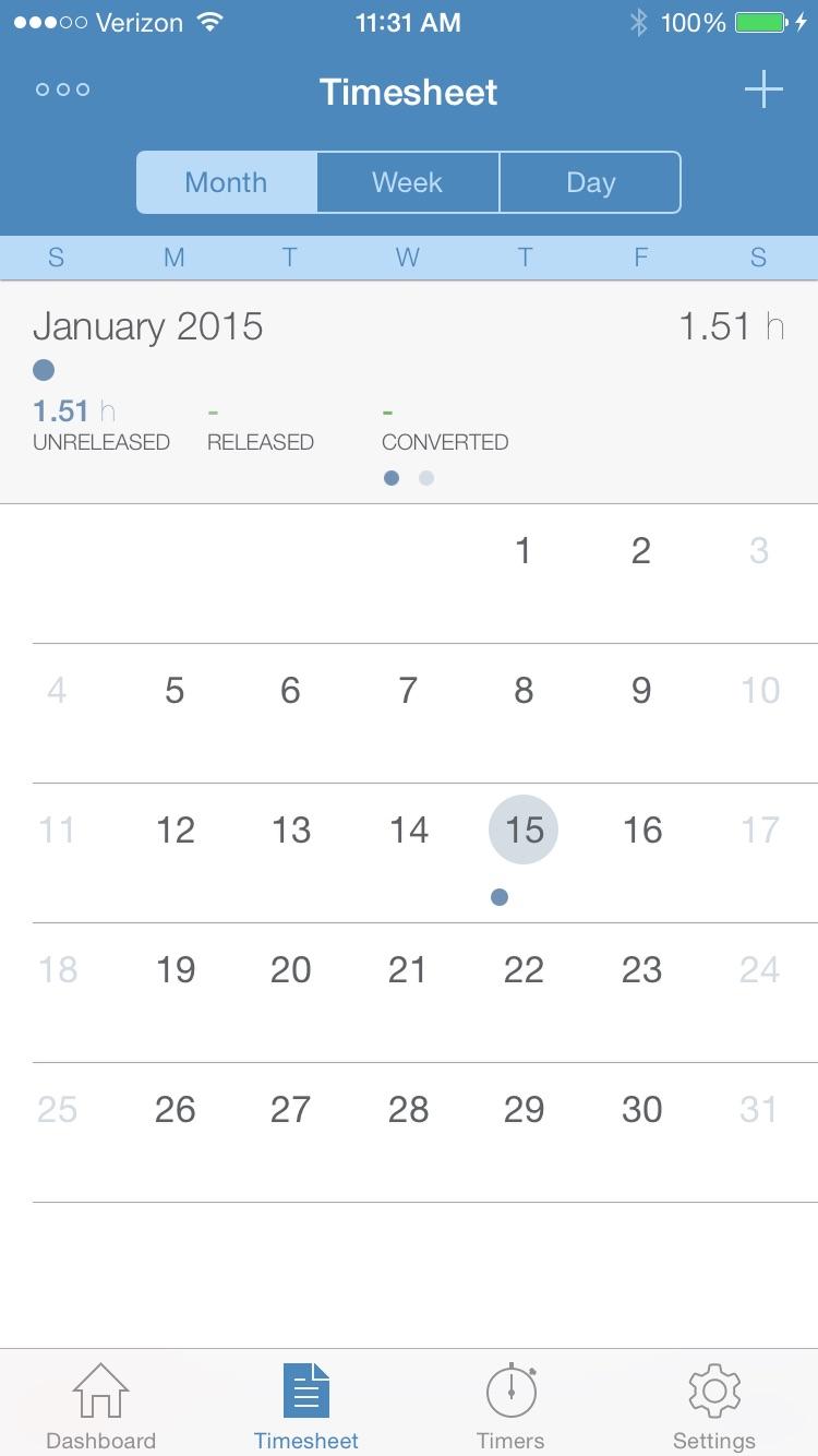 Intapp Time for BlackBerry Screenshot