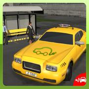 电动汽车出租车司机3D模拟器:市汽车传动接客