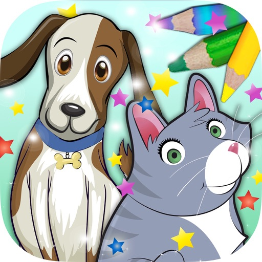 Paint pets in coloring book children