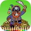 海盗彩图HD儿童:学画画和颜色的海盗船更