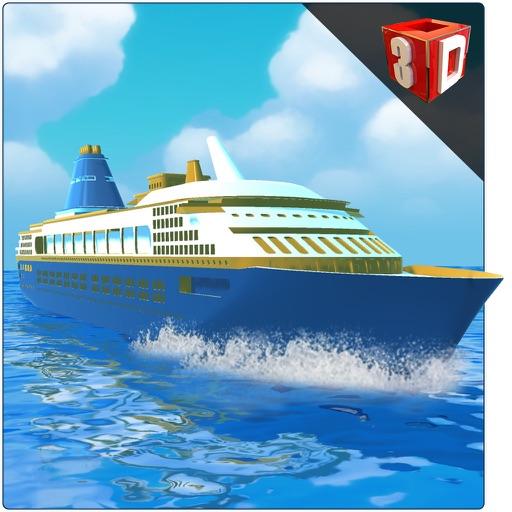 Корабль симулятор 3D - Паруса мега лодки на море, чтобы забрать и падение пассажиров с острова