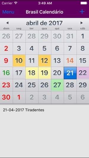 Calendario 2017 Brasil.App Store Preview