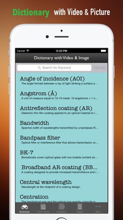 Optics Glossary: Cheatsheet with Study Guide screenshot-3