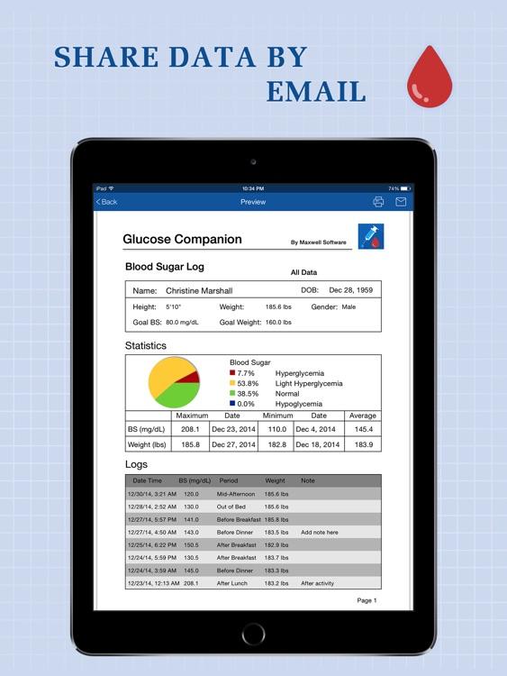 Glucose Companion for iPad - Blood Sugar Tracker screenshot-4