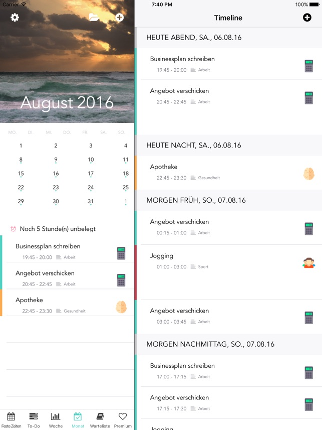 ThinkForMe – schlauer Kalender & Task Manager Screenshot