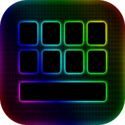 LED Keyboard Maker with Neon Backgrounds and Fonts