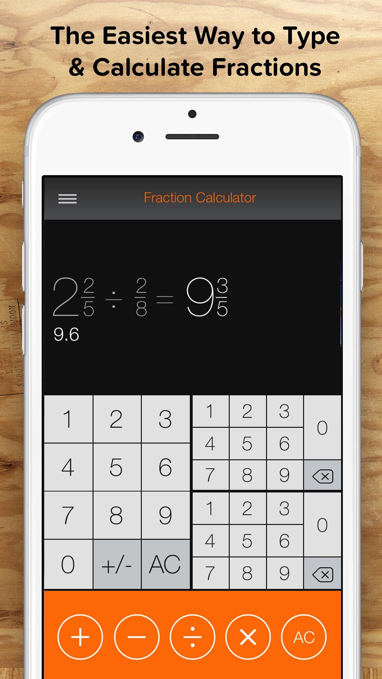 Fraction Calculator + Decimals to Fractions Screenshot