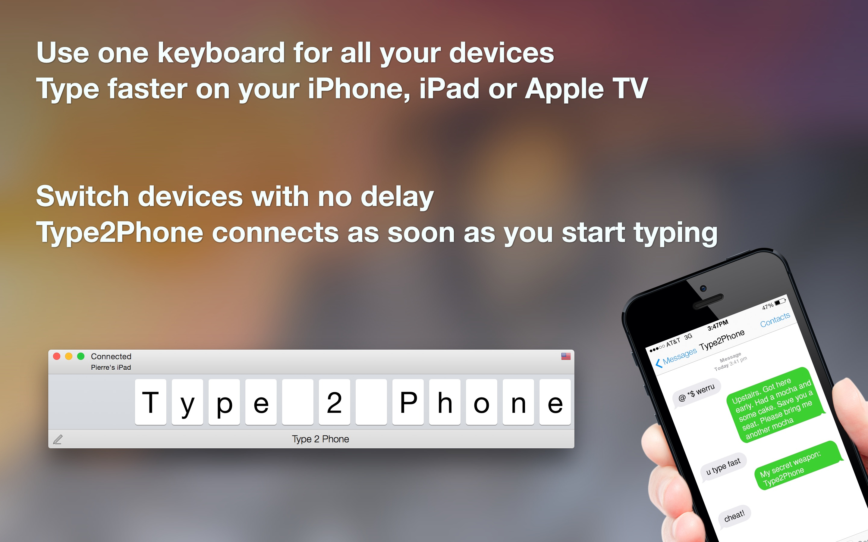 Screenshot do app Type2Phone: Bluetooth Keyboard