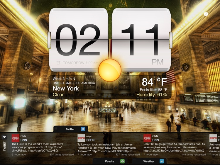 Night Stand for iPad - Social Reader, Weather & Alarm Clock screenshot-3
