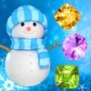 この休日のカウントダウンの一致雪や凍結した宝石 - 雪だるまのゲームとクリスマスパズル