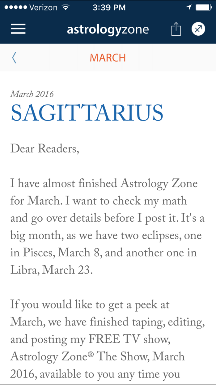 Susan Miller's Astrology Zone Screenshot