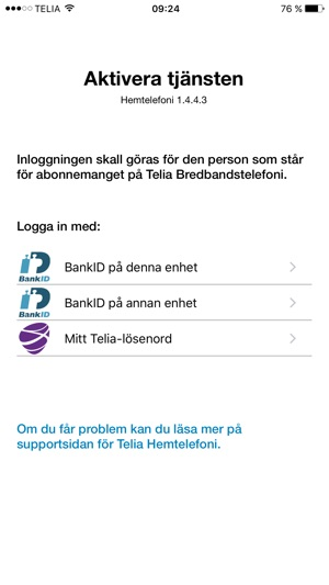 telia support utomlands