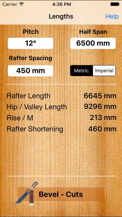 Roof Carpenter - Rafter, Hip,Valley - Length and Plumb Cut, Angle Calculator including handy Bevel for Pitched roofs screenshot-3