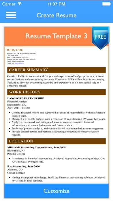 ... Screenshot #9 For Free Resume Builder App   Professional CV Maker And  Resumes Designer