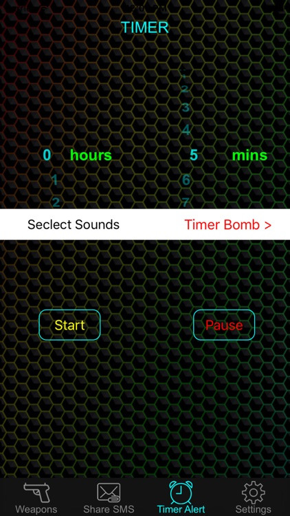 Weapon & Gun Sound Effects Button - Share Explosion Sounds via SMS & Timer Alert Plus