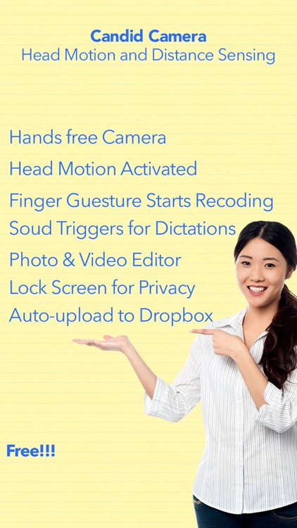 Proximity Hands-free Cam+ Free Head Motion Detection with Secure Lock.ed Photo-Video Private Album