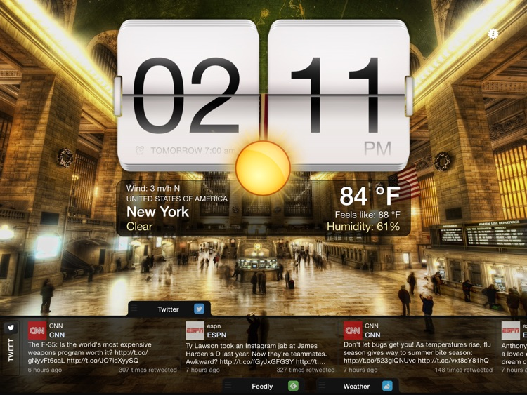 Night Stand for iPad - Free Alarm Clock, Weather & Social Reader screenshot-4