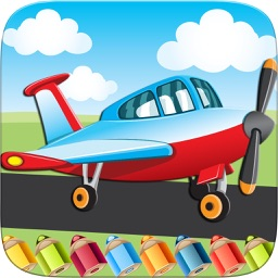 Flying on Plane Coloring Book World Paint and Draw Game for Kids