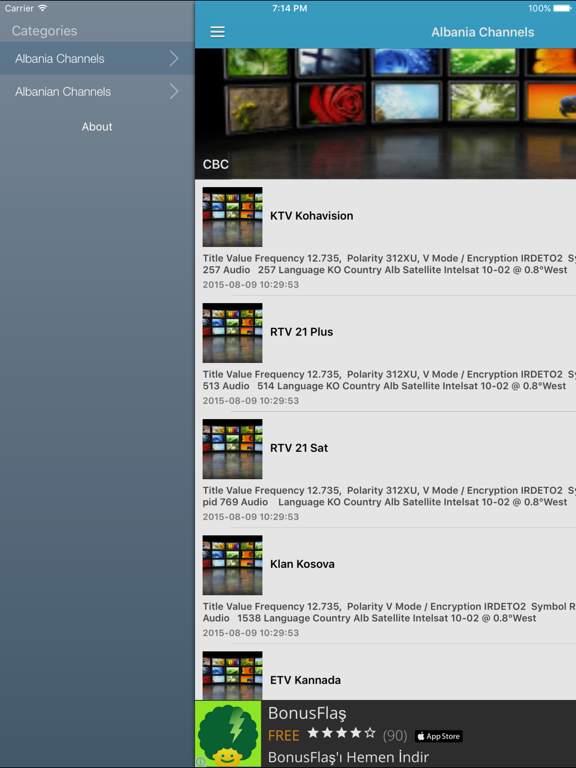 Albania TV Channels Sat Info | App Price Drops