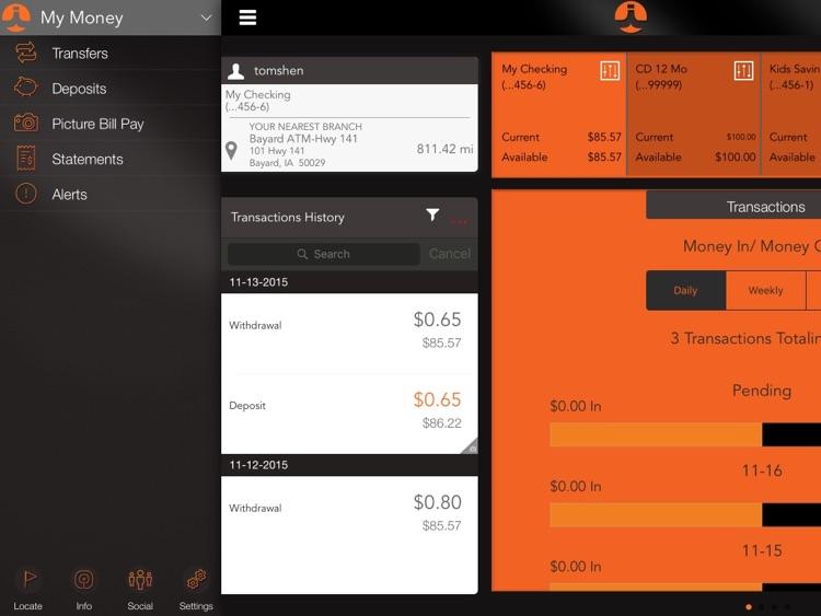 Iowa Savings Bank Mobile Banking for iPad