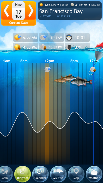 Fishing Deluxe - Best Fishing Times Calendar Screenshot 3