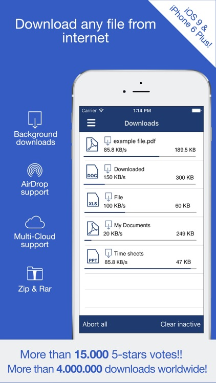 Total: browser with file manager and cloud storage support