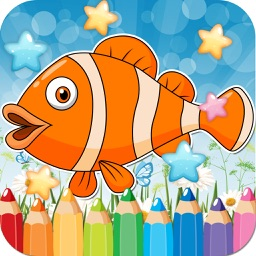 Sea Animals Drawing Coloring Book - Cute Caricature Art Ideas pages for kids