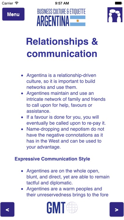 Business culture & etiquette Argentina screenshot-2