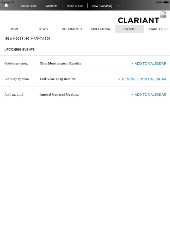 Clariant Investor Relations screenshot-2