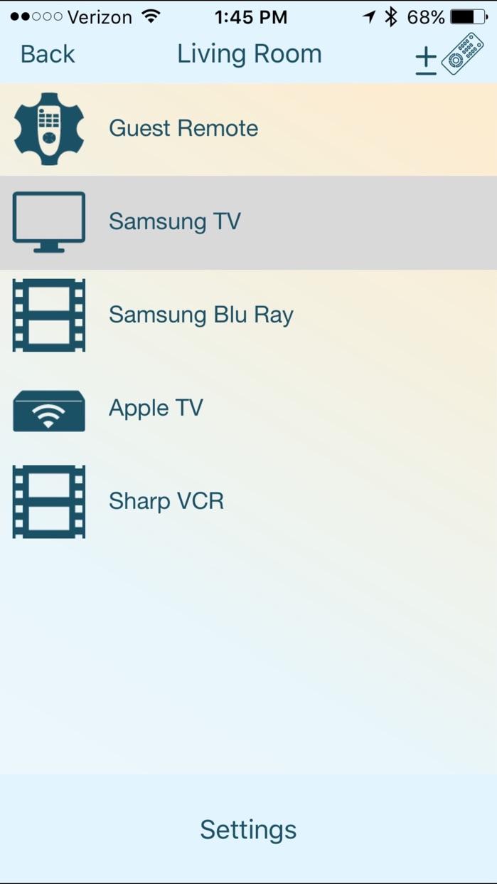 Blumoo Universal Remote Control Screenshot