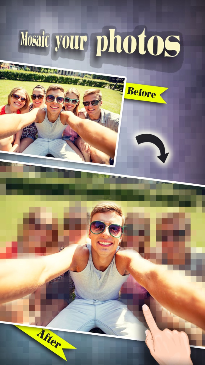 Mosaic Blur Effects Filter - Censor Pixelate Photo Editor: Touch to Show & Hide Selected Area Screenshot