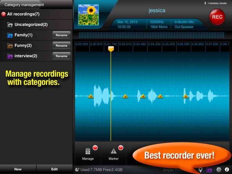 Recorder Plus - voice recorder & audio editor HD screenshot-3