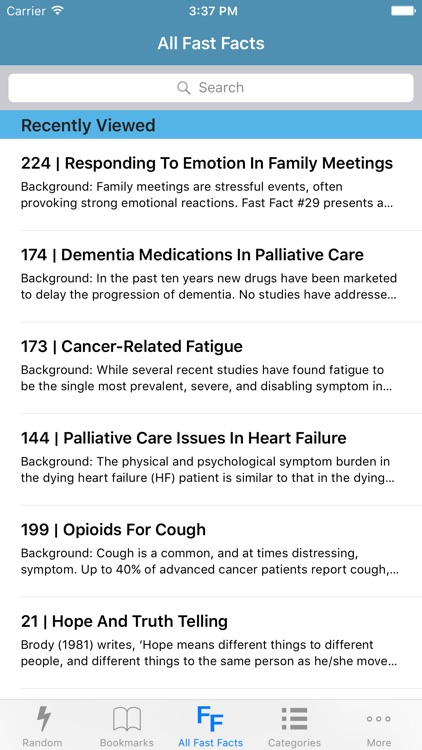 Palliative Care Fast Facts