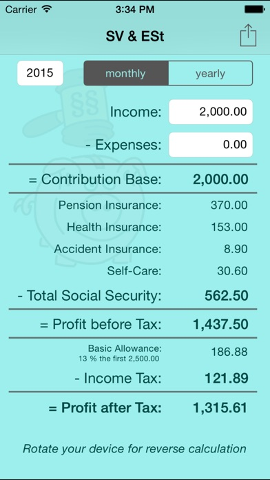 SV & ESt - social security (SVA) and income tax calculator