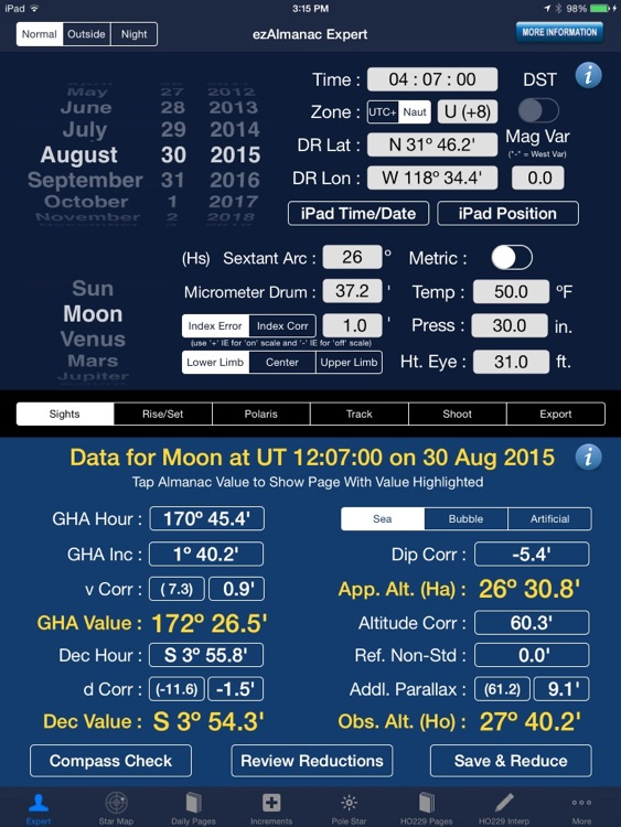ezAlmanac Celestial Navigation