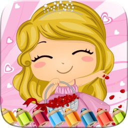 Sweet Little Girl Coloring Book Art Studio Paint and Draw Kids Game Valentine Day