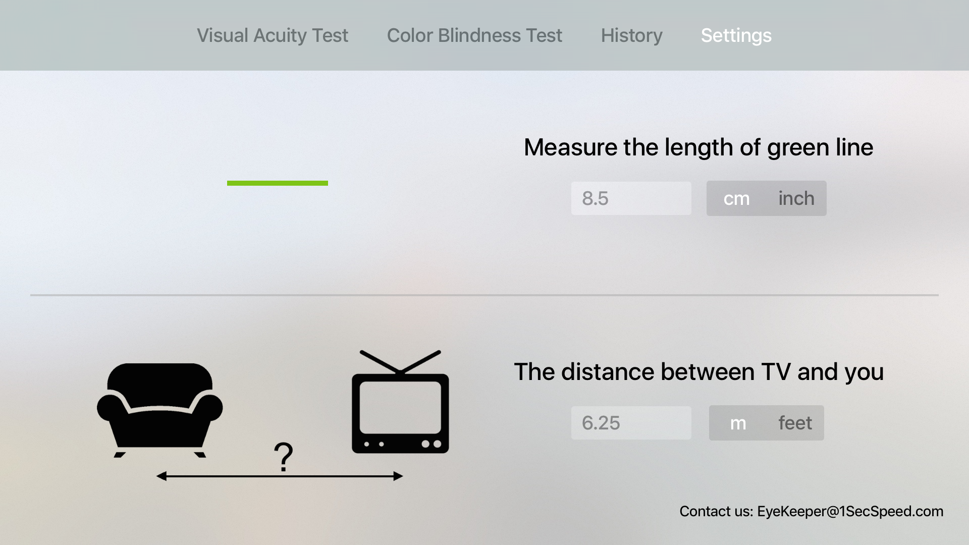 EyeKeeper - Visual Acuity Test, Color Blindness Test and Multi-Users History Tracker screenshot 5