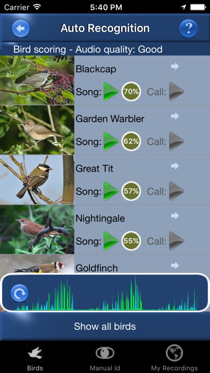 Bird Song Id Automatic Recognition & Reference - Birds of the British Isles screenshot-0