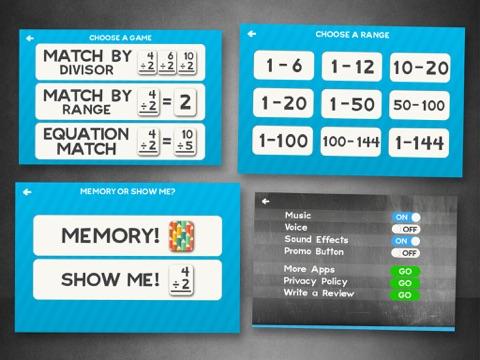 2, 3, 4 학년 어린이를위한 부문 플래시 카드 매치 게임 앱스토어 스크린샷