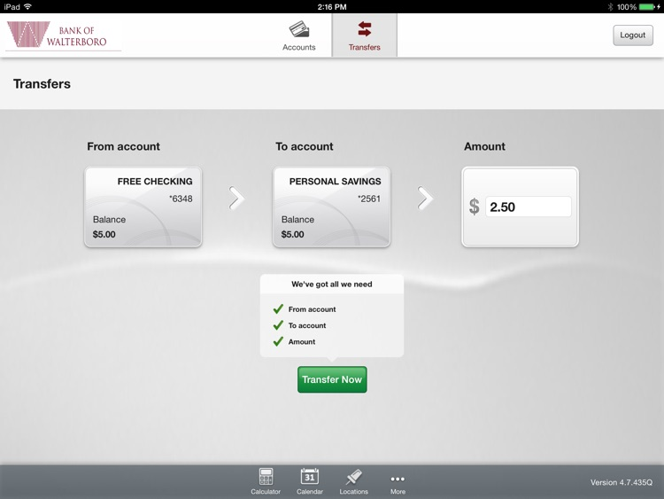 Bank of Walterboro Mobile App for iPad screenshot-3