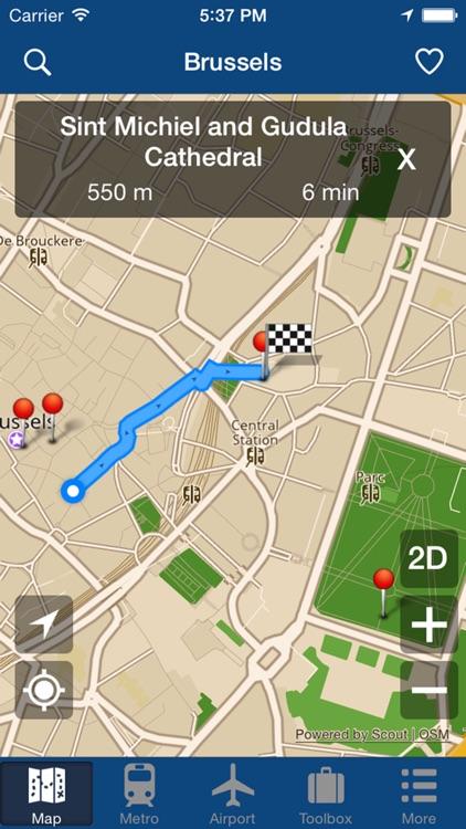 Brussels Offline Map - City Metro Airport screenshot-4
