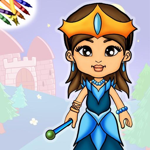 Книжка-раскраска с бумажной куклой-принцессой