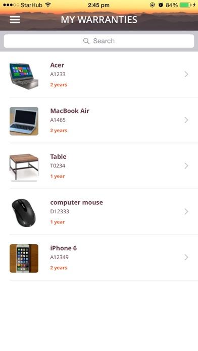 Warranty App screenshot two
