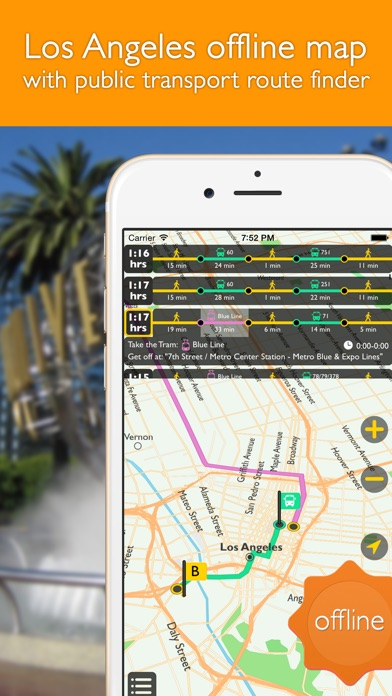 download Los Angeles offline map with public transport route planner for my journey apps 0