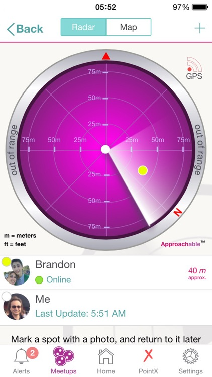 Approachable™: Radar to guide you to Meetups with your friends