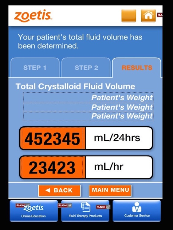 Zoetis I.V. Fluid Volume Calculator for iPad