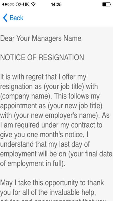 Resignation Letter Sample - Templates and Examples of Job Resignation Letters screenshot two