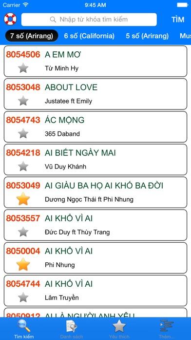 download VNKaraoke - Tra cứu mã số karaoke 7, 6, 5 số Arirang, MusicCore, ViTek, Sơn Ca, Việt KTV apps 3