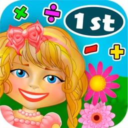 Math. Girl. Flowers. 1st Grade